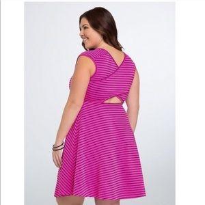 Torrid Striped Crossback Skater Dress Pink Black 2